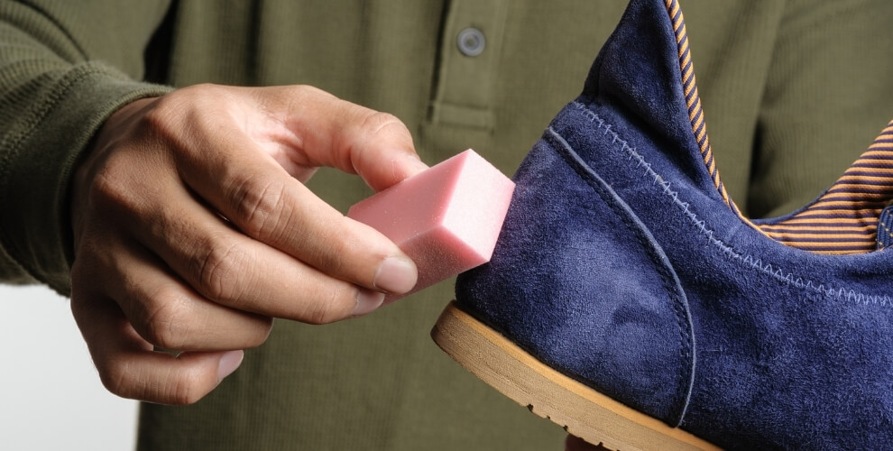 Shoe cleaning with erasers lifestyle major