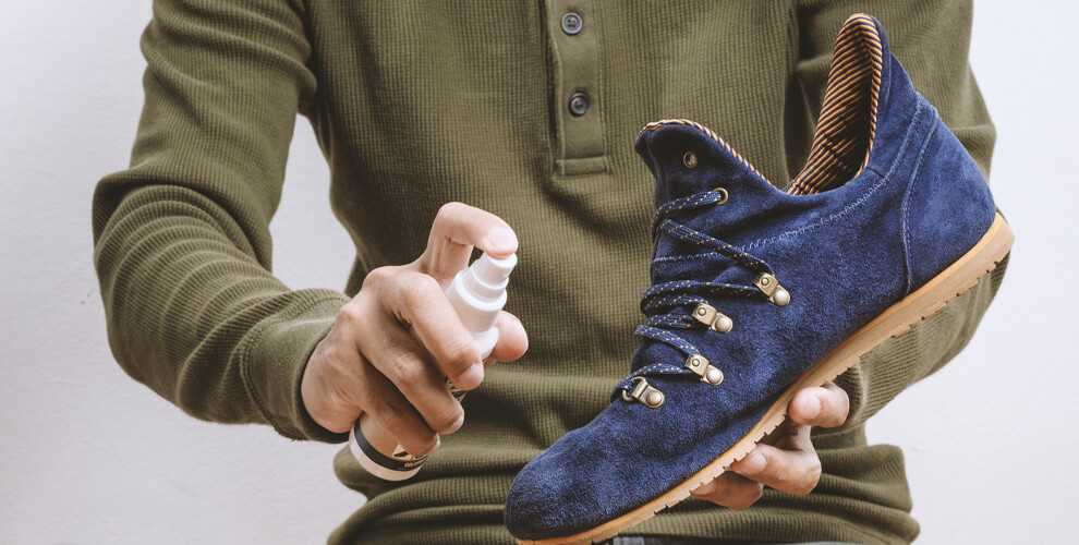Suede Shoe care with protectant spray