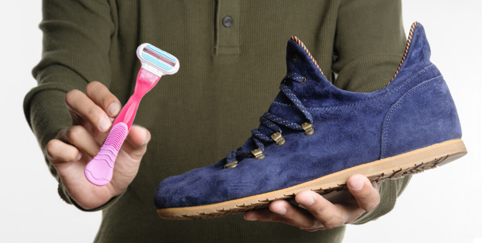 Suede Shoe cleaning with to razor brush lifestyle major