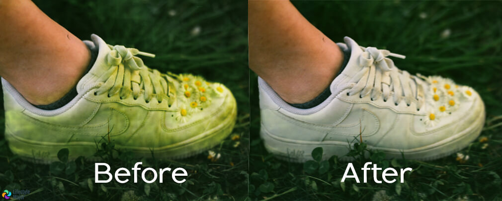 Before After Pic of Removing Grass Stain from Shoe Lifestyle Major